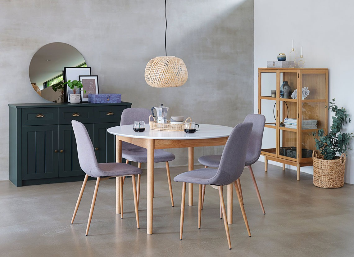 grey dining chair with wooden oak legs