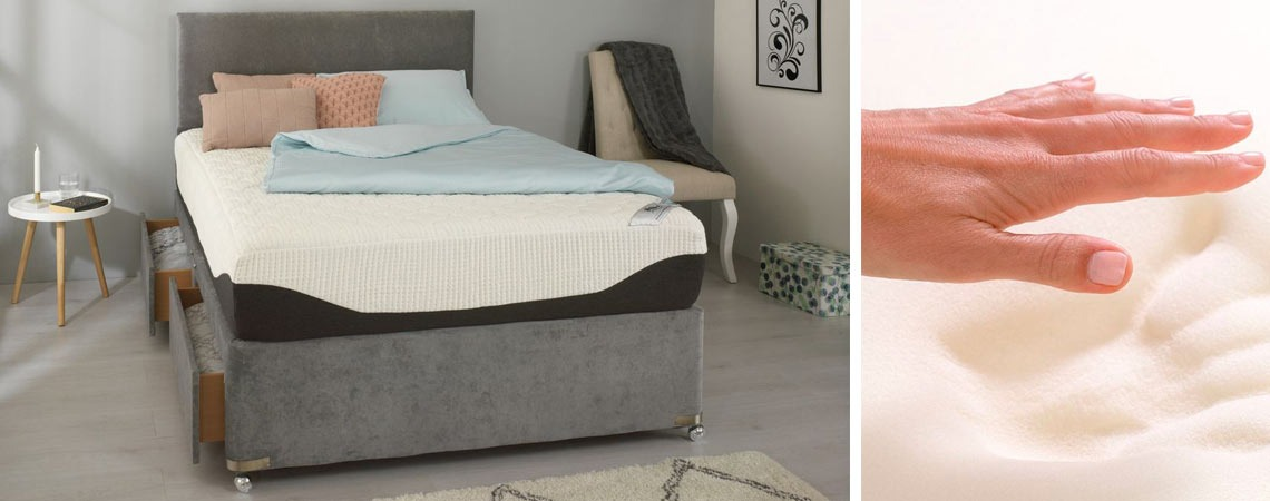 Memory foam mattress on divan bed base