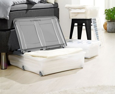 Plastic underbed boxes from JYSK