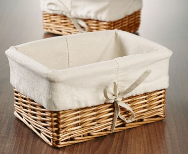Wicker storage baskets and boxes