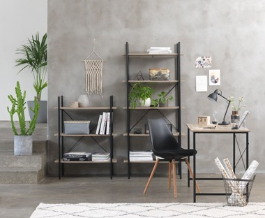 Black bookcase and shelves