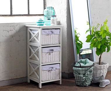 White wicker basket drawers used for bathroom furniture