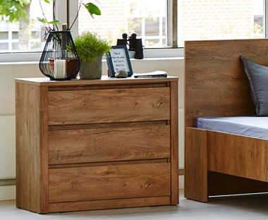 Dark oak drawers used for bedroom furniture