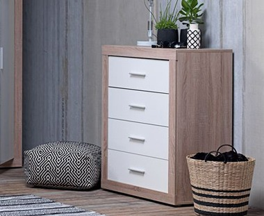 Matching bedroom furniture complete with wooden and white chest of drawers