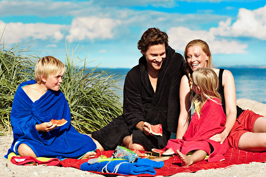 Family having picnic on the beach