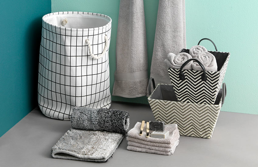 Laundry baskets and towels from JYSK
