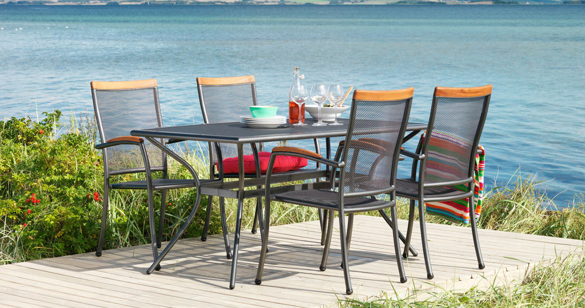 Metal and wicker garden furniture from JYSK