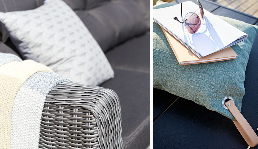 Summer cushions and accessories for a holiday home