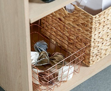 Wicker baskets and boxes for storage solutions
