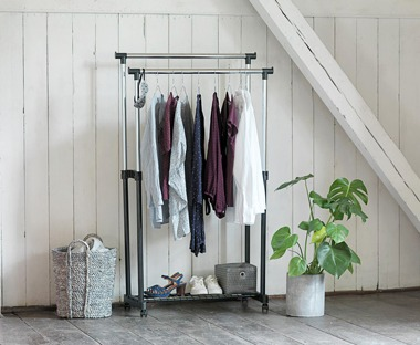 Metal and black clothes rail
