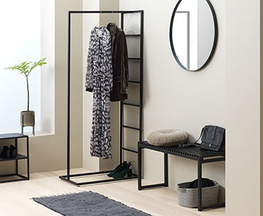 Black metal clothes rail minimalistic design