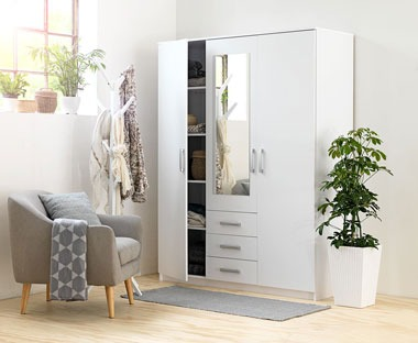 white three door wardrobe with mirror and drawers